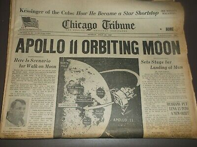 Vintage Newspaper CHICAGO July20,1969 APOLLO 11/Bauhaus/Kennedy/Nixon/GPrix