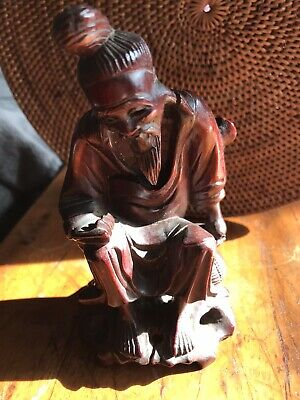 Carved Chinese Wooden Carving Olx Man Sage With Basket