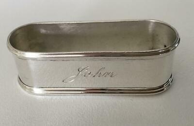 Fine sterling silver napkin ring with overhanging edges, engraved JOHN
