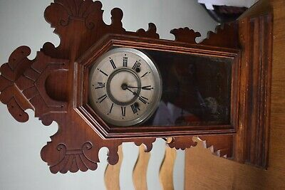 "ANTIQUE Vintage American GINGERBREAD MANTLE CLOCK ANSONIA CLOCK Co NY 23"" high"