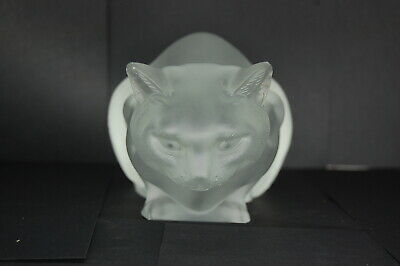 Lalique France Crouching Cat Crystal Glass Couche Vintage Decor Chipped ear
