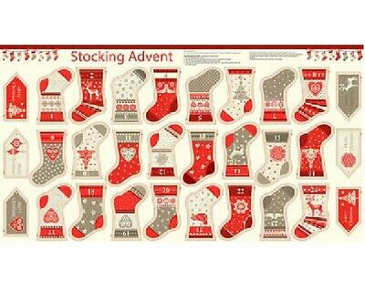 Christmas Scandinavian Stockings Bunting - 1484 100% Cotton Fabric Panel