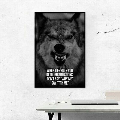 Motivational Quotes Poster - Digital Image Picture - Inspirational Wolf Print