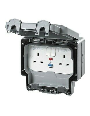 MK Masterseal IP66 Double 30ma Active RCD protected socket.K56231GRY.