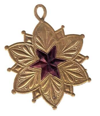 Rare Antique Hand-Painted Dresden Paper Christmas Ornament Star Medallion Loop