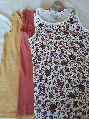Set of 3 Next Vest Tops Girls (rust red, mustard and patterned) -Age:8 BNWT