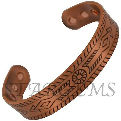Magnetic Copper Bangle Mens Chunky Egyptian Design Pain Relief Xmas Gift Health