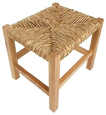 Wooden Stool Bench Seat Rustic Raffia Woven Top Solid Wood Base Side Table 30cm