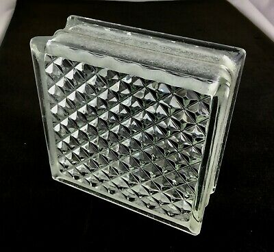 Reclaimed Architectural Glass Building Block -- Beautiful Diamond Pattern!