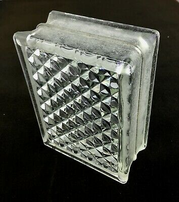 Reclaimed Architectural Glass Building Block #2 -- Beautiful Diamond Pattern!