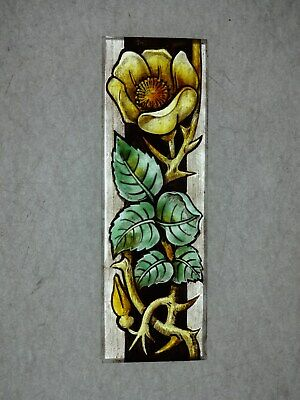 Beautiful Stained glass ROSE Hand painted Kiln fired 170 x 55mm Antique style