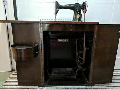 Antique singer sewing machine With cupboard, accessories fully working condition