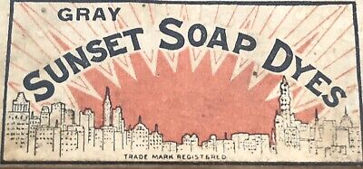 Original Box of Sunset Soap Dyes Gray Contents Inside Nice Graphics Art Vintage