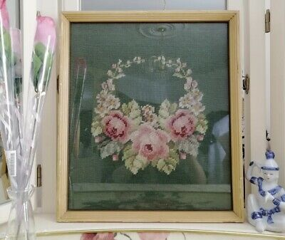 1930's Antique Wool Hooked Rug - Art Nouveau Flowers Framed in Glass - Unique