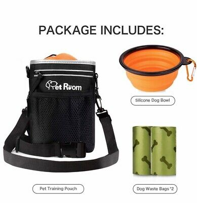 Dog walking bag for treats with poo bag holders/collapsible silicone water bowl