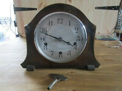 Antique/Vintage Smiths Westminster Chimes Mantle Clock With Key.