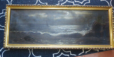 Antique 19th century American Oil/Canvas Seascape by Louise Richter Levy