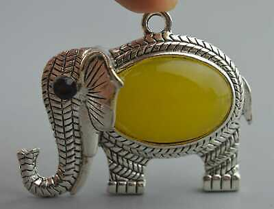 Old Collectable Handwork Miao SIlver Carve Elephant Inlay Agate Noble Pendant