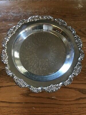 """Vintage Silver Plated Serving Tray Poole Silver Company 14"""""""