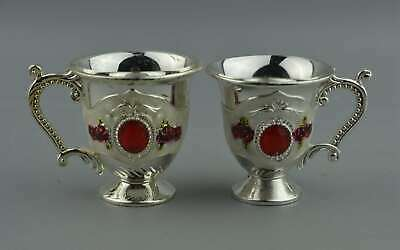 China Collectable Handwork Cloisonne Carve Beauty Flower Royal Noble Wine Cups
