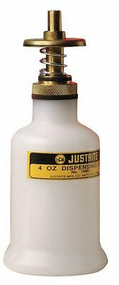 Justrite 4 oz. Dispensing Bottle, Polyethylene, White White  Polyethylene  14002