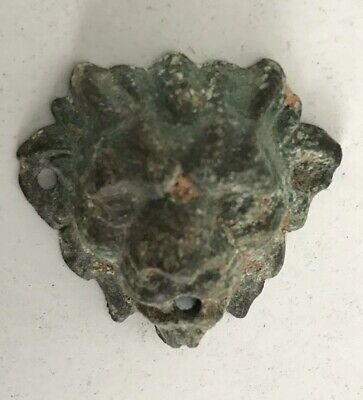 Antique Small Lion Head Museum Ornament Amulet Brooch Adornment Archaeology Dig
