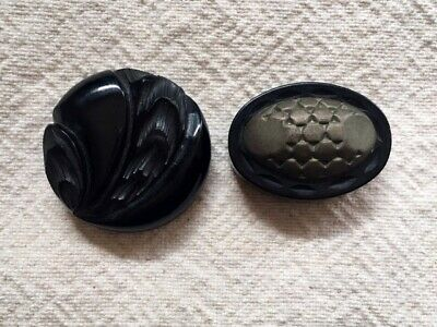 Vintage Plastic Black Large Heavy Ornate Buttons Mixed Lot of 2 Shank Back Retro
