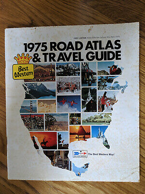 Vintage 1975 Road Atlas -USA Map Best Western Travel Guide Color Maps all States