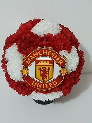 Manchester United Themed Grave Pot Artificial Silk Flowers Funeral Memorial