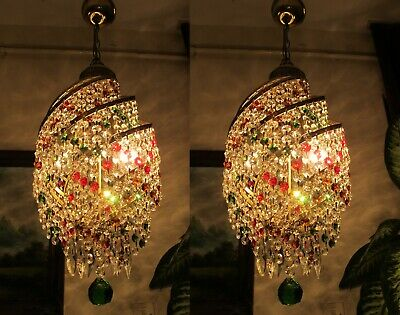 PAIR Antique vnt.French Basket style Swarovski Crystal Chandelier Light lustre