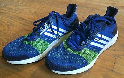 Pre-Owned Used Adidas Mens Ultraboost ST Running Shoes Size 10 Blue/Green/Black