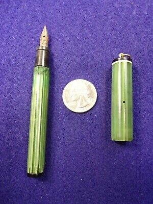 """#5 of 21, NEAT OLDER VTG ANTIQUE GREEN """"STRIPED"""" FOUNTAIN PEN WITH BALE RING TOP"""