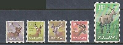 (K186-25) 1971 Malawi mix of 5stamps decimal currency 1t to10t (Y)