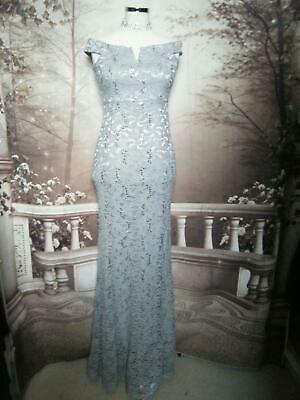 Quiz Ballgown/Long Dress size 12 Grey Lace Silver Sequin Bardot Stretch Fishtail