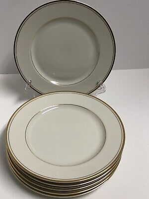 Mikasa TROUSDALE (6) Salad Plates Ivory with Gold Trim 7 3/8 inches L 2801 Japan