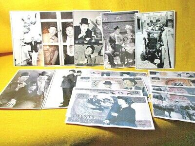 """Laurel & Hardy Memorabilia, LOT of """"L&H Bank Notes"""" and Post Cards. Movie photos"""