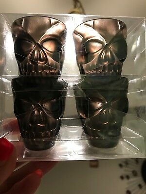 4 Pack SKULL 💀 SHAPED SHOT GLASSES - 3D Black/Gray 1.8 fl oz each