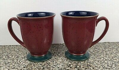 DENBY England Mug Red Navy Blue Inside Green Foot Coffee Cups Set 2