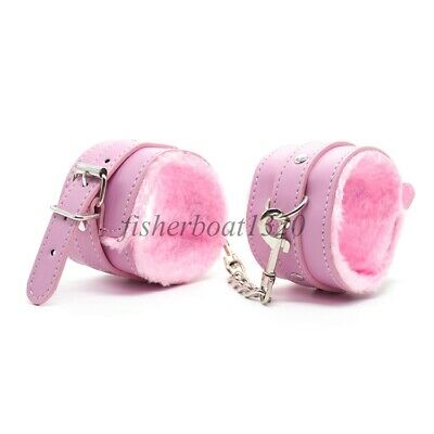 BDSM Faux Leather Bondage Handcuffs Hand Harness Restraints Pink