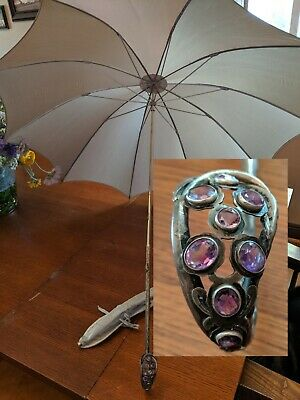 Antique 800 Silver & Amethyst Handle Pure Silk Parasol / Umbrella Steampunk