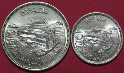 1964 EGYPT 50 & 25 Piastres Silver Commem Coins BU Cond. Diversion of the Nile.