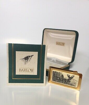 Vintage Barlow Money Clip Scrimshaw Gold Plate Made in USA 1980s With Box As New