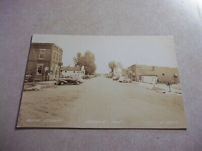 Vintage 1940's MINONG Wisconsin Real Picture Postcard Main Street FITGERS BEER