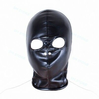 Black PU Leather Role Play Body Harness Breathable Open Eyes Nose Hood Mask