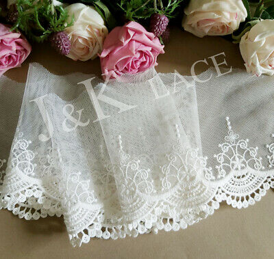 12 cm width Milky White Embroidery mesh Lace Trim