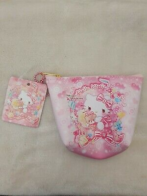 New Kawaii Sanrio Brand HELLO KITTY Pink Vinyl Coin Pouch Cosmetic Bag JAPAN