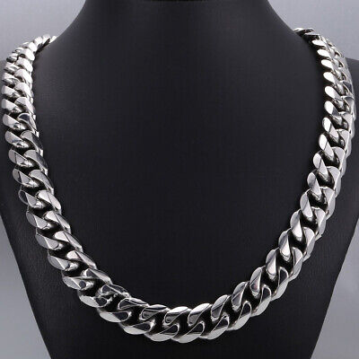 """15mm Mens High Quality Silver 316L Stainless Steel Curb Link Necklace Chain 24"""""""