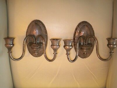 Art Deco Silver Plated Two Candle Wall Sconce Pair European