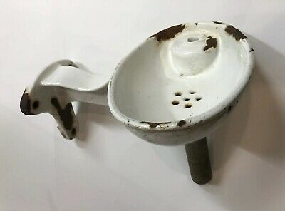 Vintage Porcelain Cast Iron Wall Mount Water Drinking Fountain Basin Outdoor
