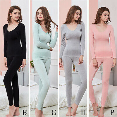 Women Winter Body Shaping Thermal Underwear Slim V-Neck Sexy Warmer Clothes Suit